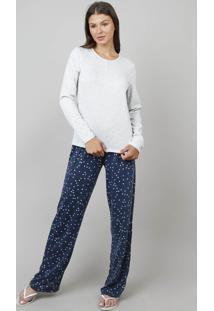 Pijama Feminino Estampado Corações Manga Longa Cinza Mescla Claro