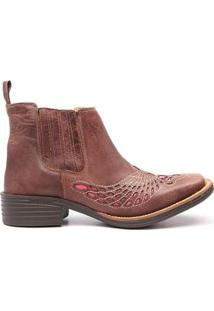 Bota Elite Country Medina Rock Oil Bordado Feminina - Feminino-Marrom