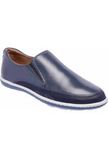 Tênis Slip On D&R Shoes Casual Em Couro Masculino - Masculino-Marinho