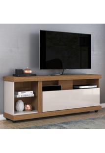 Rack Para Tv Até 65 Polegadas Ilhabela Com Rodízio Natura Real/Off White - Colibri Móveis