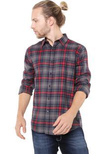 Camisa Ellus Reta Wire Woll Touch Check Cinza/Vermelho