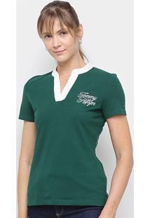 Camisa Tommy Hilfiger Gola V Feminina - Feminino-Verde