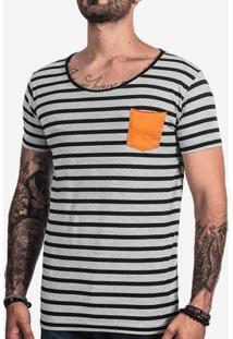 Camiseta Listrada Bolso Mostarda 101661