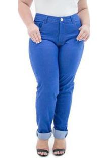 f138df23978fd2 Calça Jeans Feminina Confidencial Extra Cigarrete Missy Com Lycra Plus Size  - Feminino-Azul