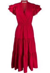 Philosophy Di Lorenzo Serafini Vestido Evasê Com Elástico - Vermelho