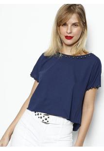 Camiseta Com Spikes- Azul Marinhodimy
