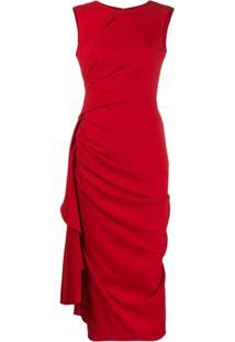 Alexander Mcqueen Vestido Midi Drapeado - Vermelho