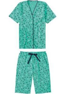 Pijama Malwee Liberta Floral Feminino - Feminino-Verde Água
