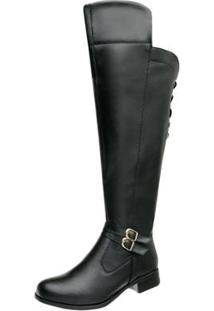 Bota Montaria Over Top Franca Shoes Feminina - Feminino-Preto