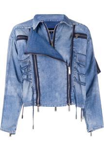Dsquared2 Jaqueta Jeans Com Sobreposição - Azul
