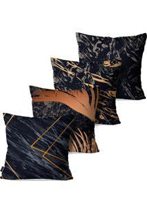 Kit Com 4 Capas Para Almofadas Pump Up Decorativas Cinza Com Detalhes Em Amarelo Modelo Abstrato 45X45Cm