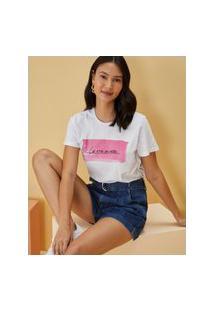 Amaro Feminino T-Shirt Bordada La Vie En Rose, Branco
