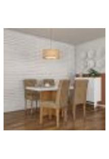 Conjunto De Mesa De Jantar Orlando I Com Tampo De Vidro Off White E 4 Cadeiras Grécia Suede Chocolate