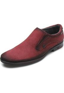 Sapato Social Couro Pegada Texturizado Vermelho