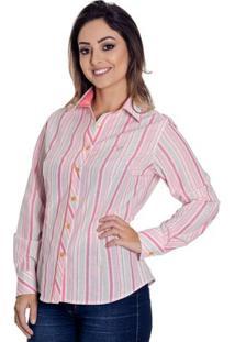 Camisa Pimenta Rosada Listrada Kayla - Feminino-Rosa+Branco