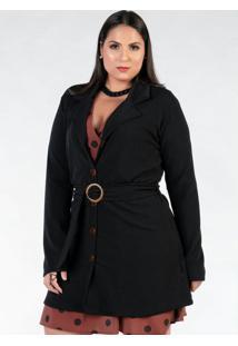 Casaco Plus Size Alongado Preto Com Cinto