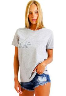 Camiseta Basica Joss Urso Cinza Mescla - Kanui