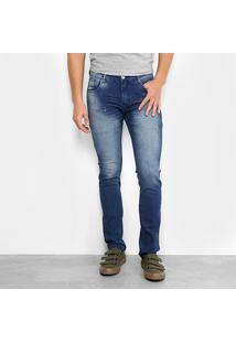 Calça Jeans Skinny Preston Estonada Elastano Masculina - Masculino-Azul