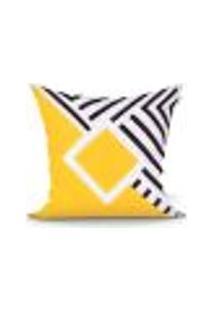Capa De Almofada Amarela E Preta Clássica Geométrica 45Cm X 45Cm Com Zíper Tecido Microfibra