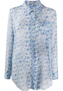 Acne Studios Blusa Translúcida Com Estampa Floral - Branco