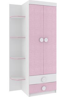 Roupeiro Infantil Rodial Arco-Iris 2 Portas 2 Gavetas Branco Rosa
