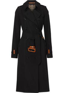 Burberry Trench Coat De Algodão Com Detalhe De Couro - Preto