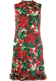 Dolce & Gabbana Vestido Reto Com Estampa Floral - Vermelho
