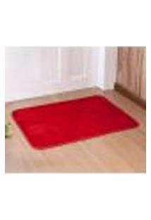 Tapete Liso Vermelho 68Cm X 48Cm Antiderrapante De Porta