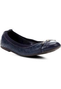 Sapatilha Couro Shoestock Matelassê Bico Redondo Feminina - Feminino-Marinho