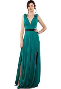 896a71db9d ... Vestido Longo Em Musseline Decote V Feminino - Feminino-Verde