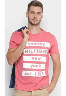 Camiseta Tommy Hilfiger Estampada New York Manga Curta Masculina - Masculino-Bege