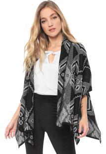 Kimono Mercatto Tricot Assimétrico Preto/Branco