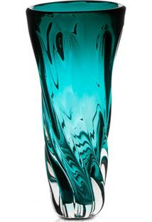 Vaso Em Vidro Unique 33Cm Turquesa