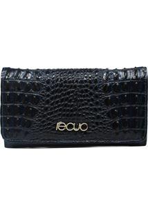 Carteira Em Couro Recuo Fashion Bag Azul/Azul Marinho