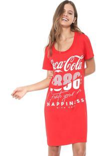 Vestido Coca-Cola Jeans Curto Lettering Vermelho