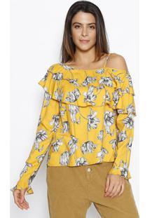 Blusa Assimã©Trica Com Vazado- Amarelo Escuro & Off Whitesommer