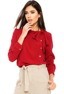 Camisa Manga Longa Fiya Lady Laço Vermelha