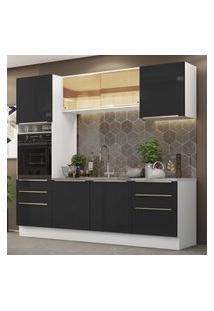 Cozinha Completa Madesa Lux 240002 Com Armário E Balcáo - Branco/Preto Branco
