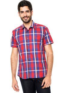 Camisa Forum Xadrez Vermelha/Azul