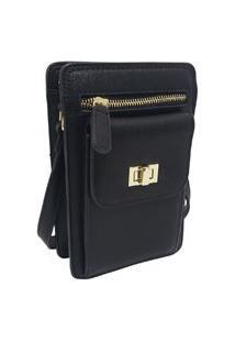 Bolsa Pequena Carteira Porta Celular Documento Transversal Fanlice Shoulder Bag De Lado Preta