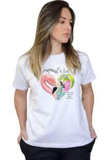 Camiseta Boutique Judith Flamingo Love Branco - Kanui
