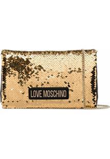 Love Moschino Bolsa Bicolor Com Paetês - Dourado