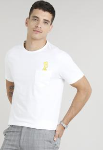 Camiseta Masculina Bart Simpson Com Bolso Manga Curta Gola Careca Off White