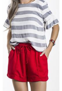 Shorts Feminino Em Tecido De Viscose Com Modelagem Comfort Folha
