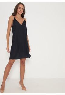 Vestido Collection Com Aviamento- Preto & Azul- Lançlança Perfume