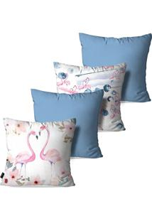 Kit Com 4 Capas Para Almofadas Pump Up Decorativas Azul Love Flamingos 45X45Cm