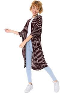 Kimono Cantão Listrado Vinho/Off-White