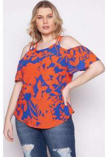 Blusa Almaria Plus Size Kayla Tondela Estampado Laranja Laranja