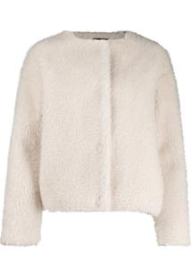 Ps Paul Smith Faux-Fur Collarless Jacket - Branco