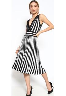 Vestido Listrado Plissado- Branco & Preto- Le Fixle Fix